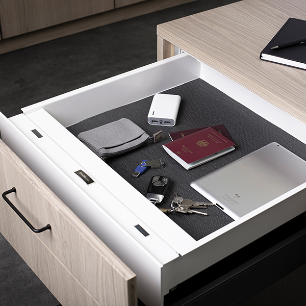 EverydaySafe™ open and easily accessible in an office desk